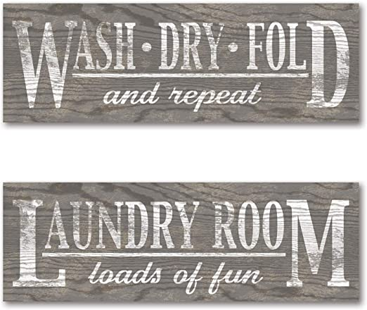Amazon Com Classic Grey Brown Humorous Laundry Signs 2 18x6 Inch Posters Printed On Paper Not Wood Home Kitchen