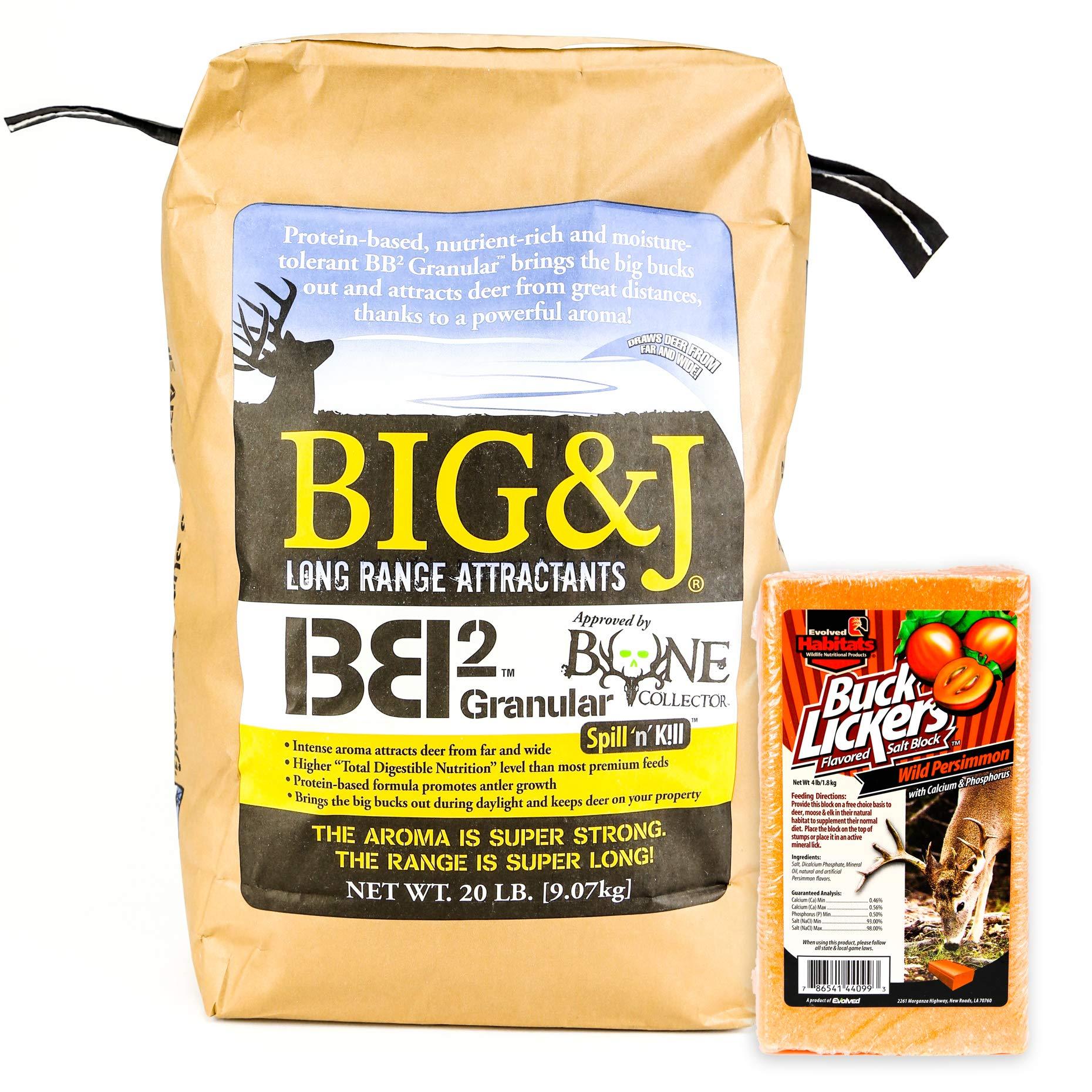 Bundles by Creative Home Store Big & J BB2 Granular Long Range Deer Feed/Attractant - 20 LB & Evolved Habitats Buck Lickers Persimmons Flavored Salt Brick - 4 LB Set (2 Items) by Bundles by Creative Home Store
