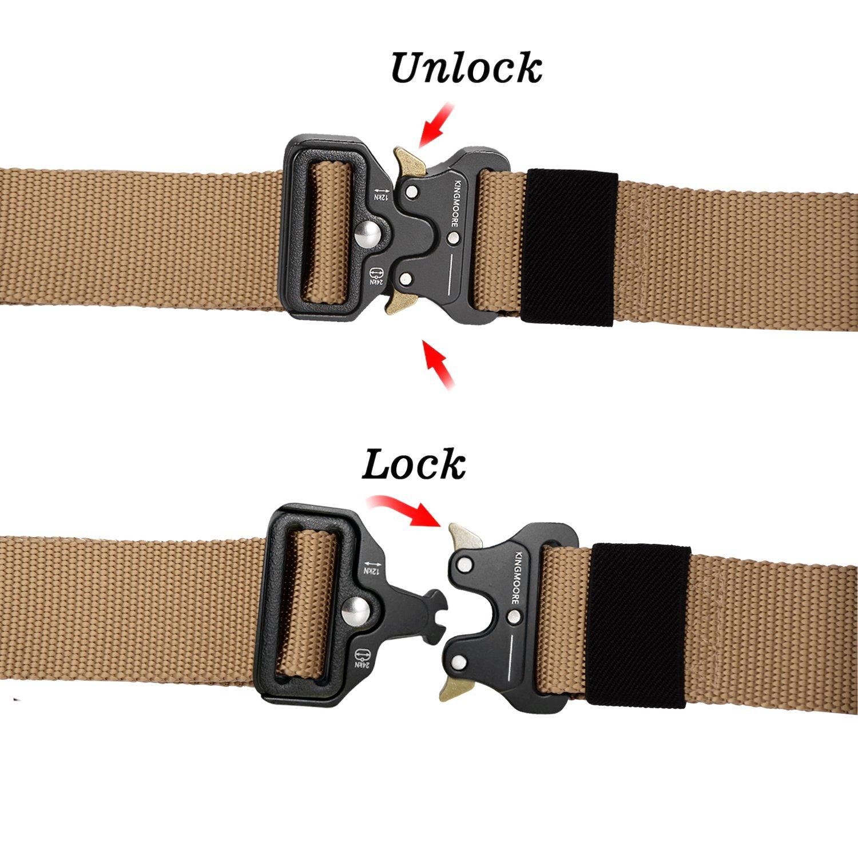 Men's Tactical Belt Heavy Duty Webbing Belt Adjustable Military Style Nylon Belts with Metal Buckle by KingMoore (Image #5)