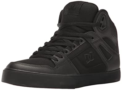 DC Shoes Men's Spartan High WC Skate Shoes, Black/Black/Black, 10