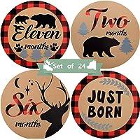 Baby Monthly Stickers, 24 Pieces Woodland Bear Lumberjack Baby Milestone Stickers Animals Newborn Baby Stickers First…