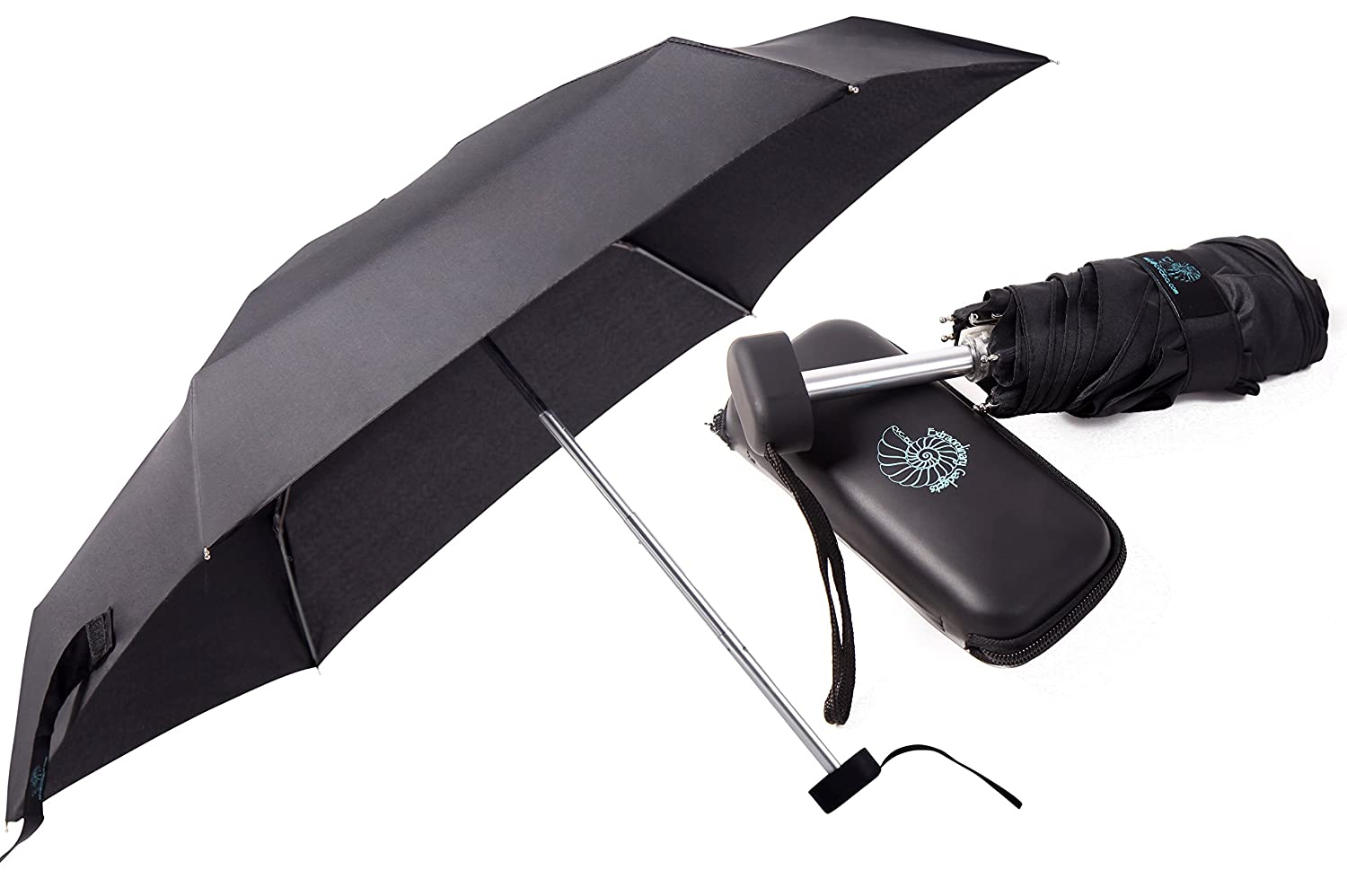CVC-EG Compact Umbrella, Mini Umbrella - Small Umbrella for Travel - Pocket-Size Perfect for Purse, Backpack - Waterproof Case and Fabric Case