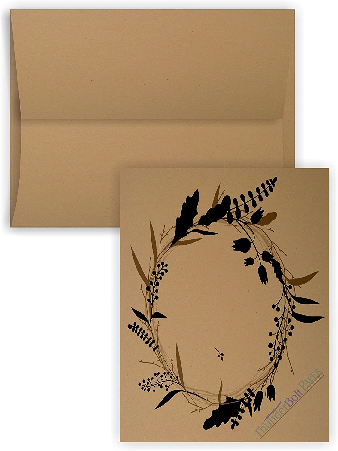 5X7 Cut Size Cards with A-7 Envelopes - Brown Kraft Fiber - 50 Sets - Matching Pack - Invitations, Greeting, Thank Yous, Notes, Holidays, Weddings, Birthdays, Announcements - 80# Cardstock : Office Products