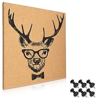 Navaris tablero de corcho con diseño de ciervo - Pizarra de corcho de 40x40CM - Tablón para colgar anuncios con 6 chinchetas y set de montaje