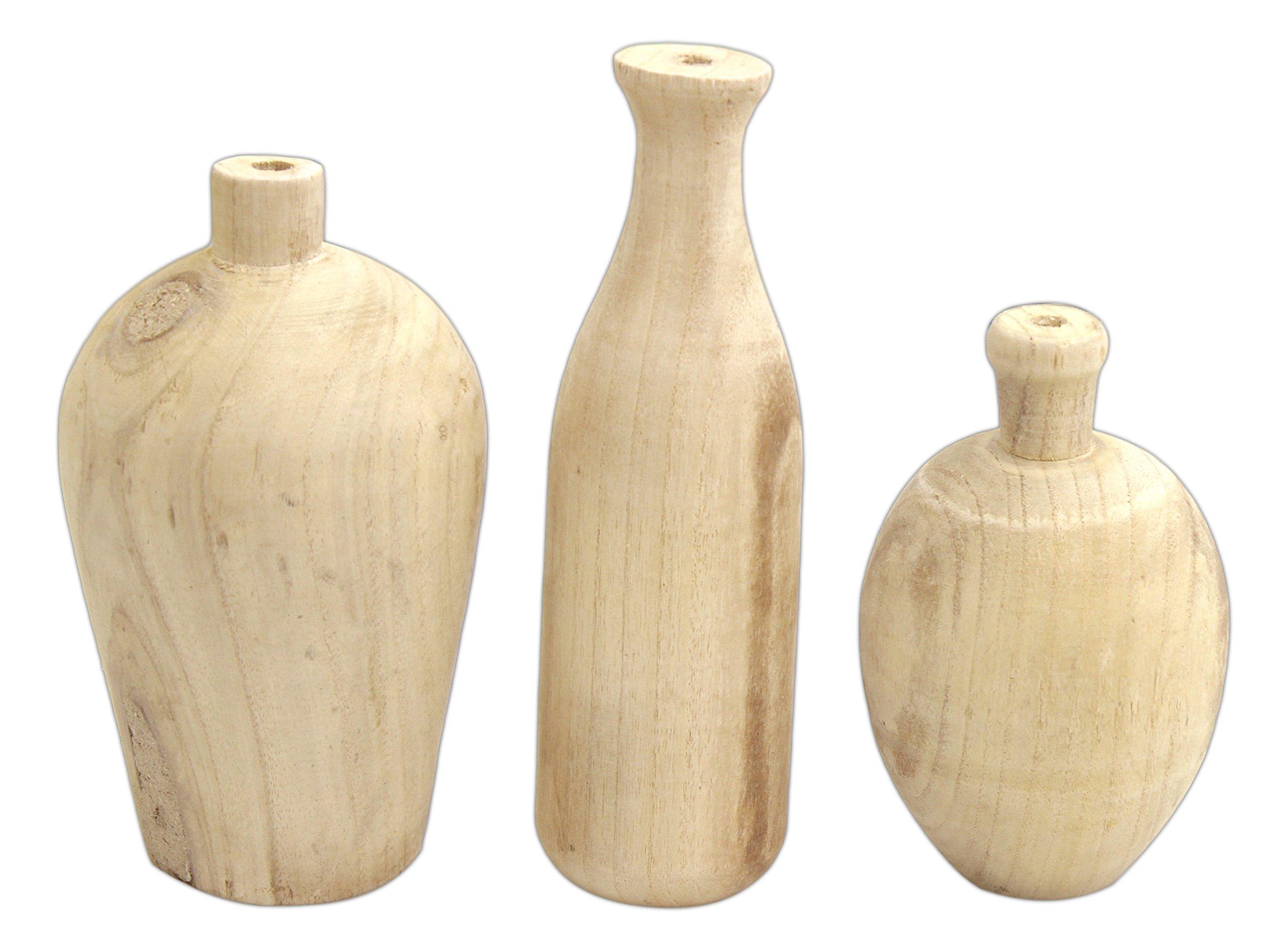 Set of 3 Creative Co-Op Paulownia Wood Vases, Beige, 9.5''H x 4.5''W