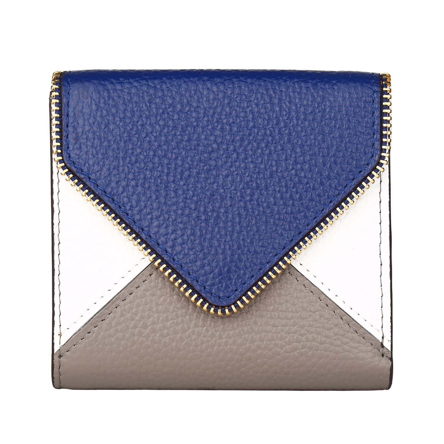 Dante Women's RFID Blocking Small Compact Bifold Leather Pocket Wallet Ladies Mini Purse with id Window(Envelope Blue)