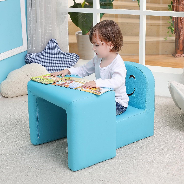 Sillón para niños Multifuncional, Silla y Mesa para niños/Taburete con una Sonrisa Divertida para niños y niñas(Azul)