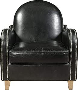 Pulaski Essex Leather Accent Arm Chair, Nail head trim