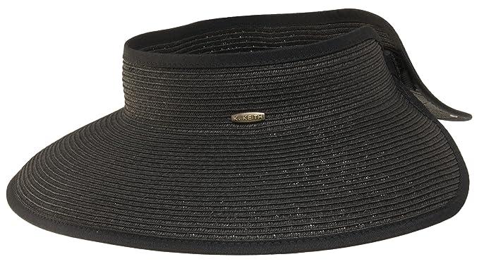 564d3113e03ec Image Unavailable. Image not available for. Color  Karen Keith Paper Braid  Wide Brim Roll Up Sun Visor Hat ...