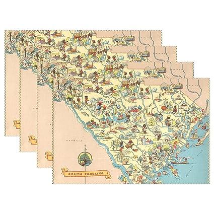 Vintage South Carolina Map.Amazon Com Coolprintall Vintage 1935 South Carolina Map Placemat