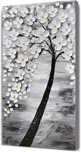 Yihui Arts 3D White Flower Canvas Wall Art Hand Painted Grey Paintings Vertical Artwork
