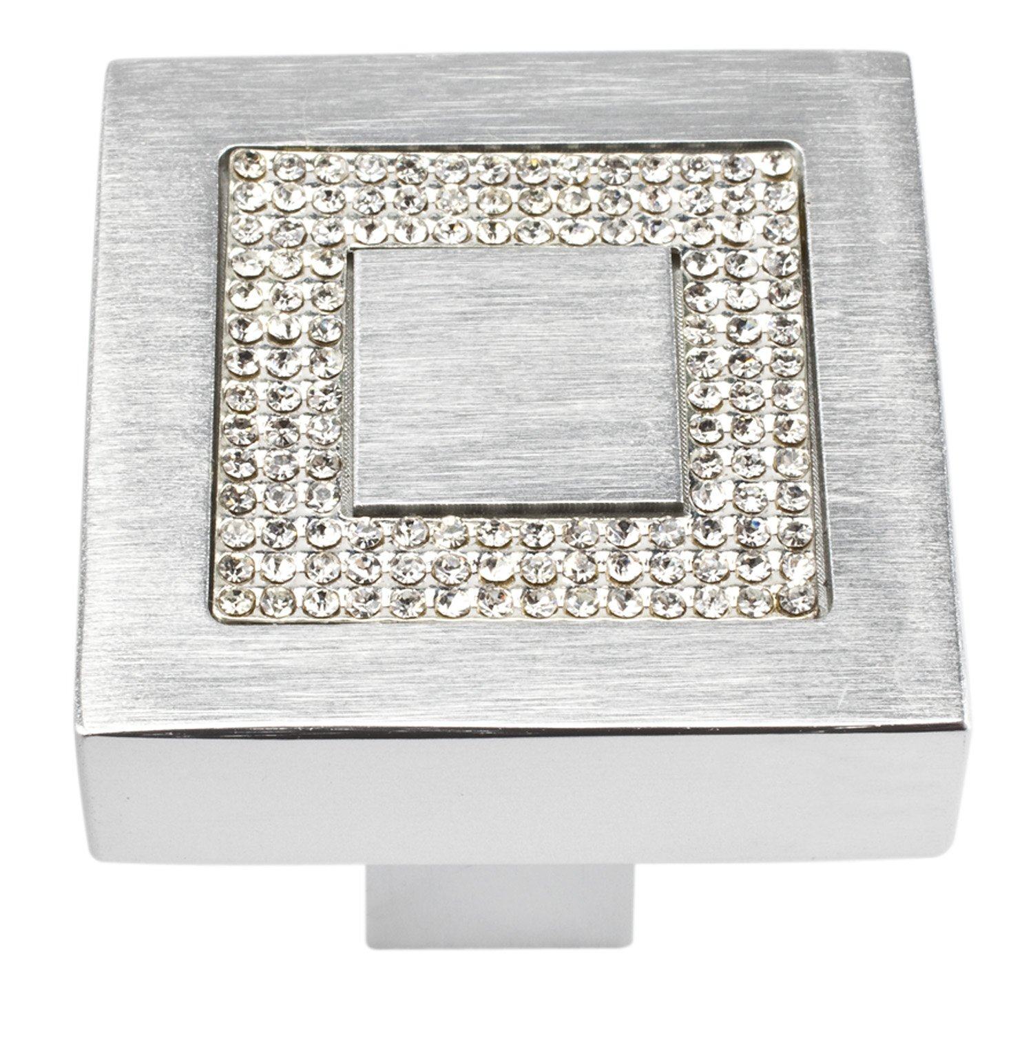 Atlas Homewares 3192 Crystal Collection 1.4-Inch Square Inset Crystal Knob, Matte Chrome