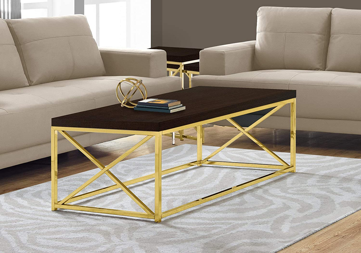 Amazon Com Monarch Specialties Modern Coffee Table For Living Room Center Table With Metal Frame 44 Inch L Cappuccino Gold Furniture Decor