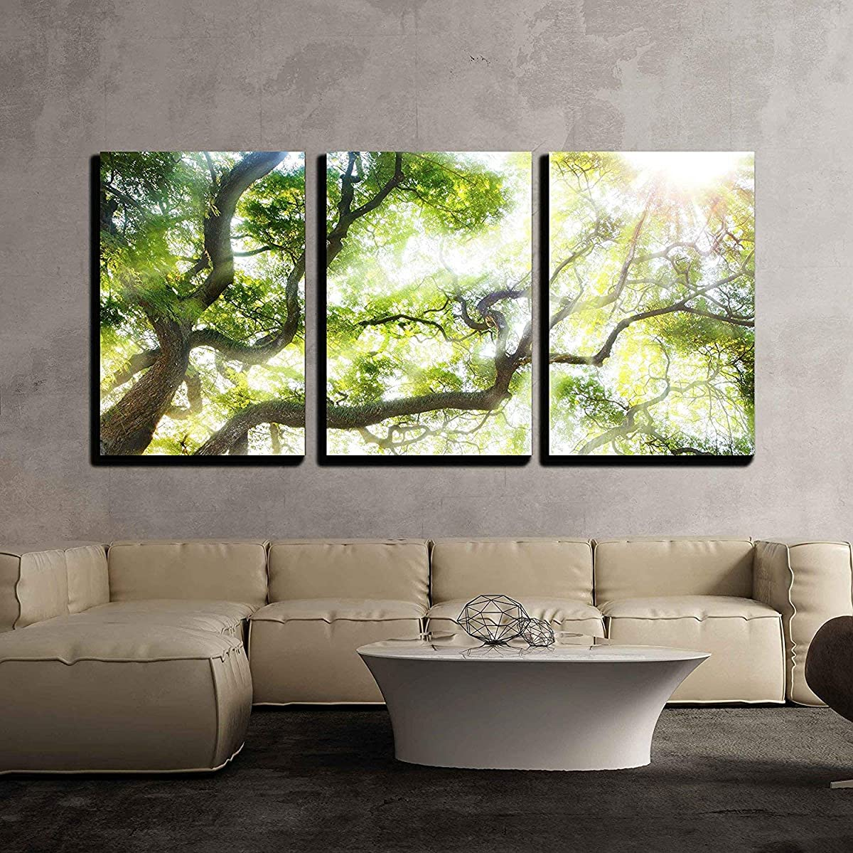 "wall26 - Big Tree with Sun Light - Canvas Art Wall Decor - 24""x36""x3 Panels"