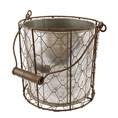 MayRich 6.5'' Tall Chicken Wire Basket, Tin Insert, with Handle