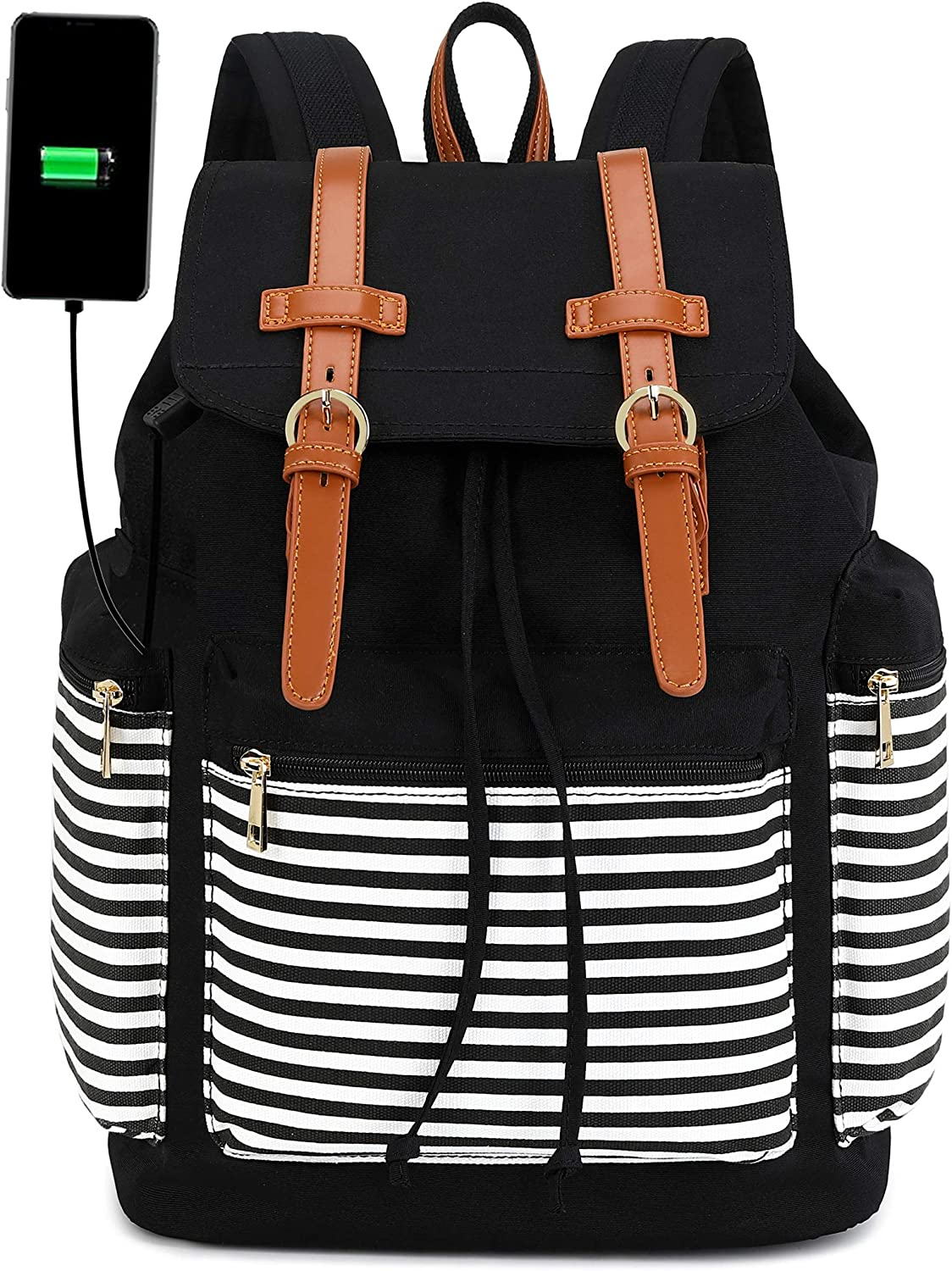 Travel Laptop Backpack for Women and Mens School College Bookbag with USB Charge Port for Notebook with Trolley Sleeve on Suitcase (Black and black white stripe)