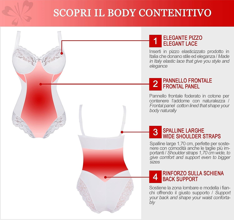 dec5373a74c36a Classic Lady PA0188 Body Contenitivo e Modellante in Elegante Pizzo Senza  Ferretto - Tessuto in Microfibra Foderata in Cotone - Coppa C e D -  Pannello ...