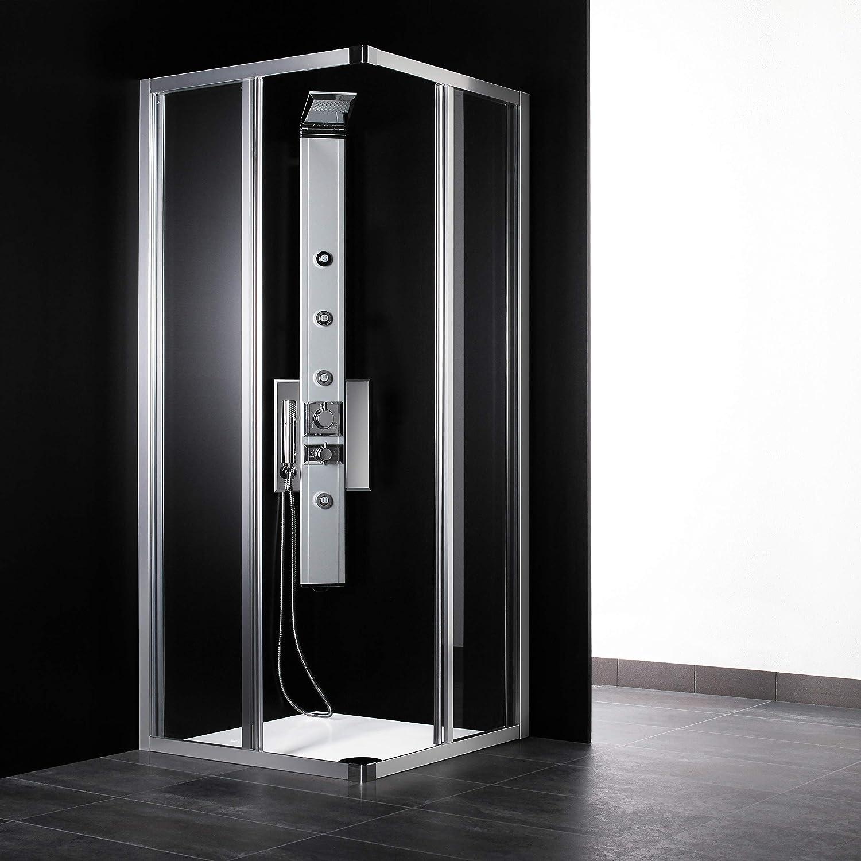 Cabina de ducha angular de 90 x 90 cm, cristal mate con perfil de ...