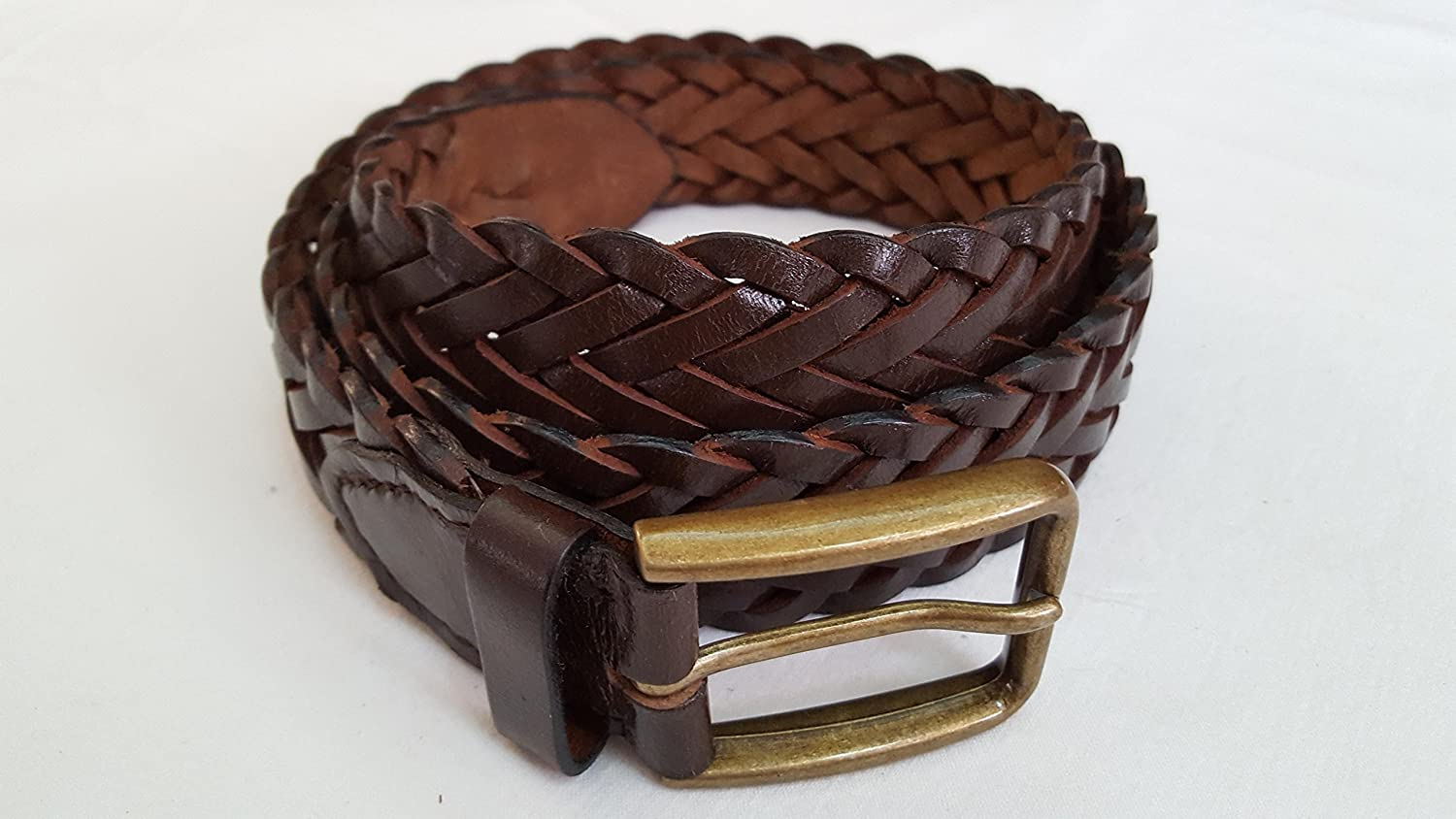 Men Braided Brown Small (Size 32) Leather Men's Belt Brass Pin Buckle - S & S