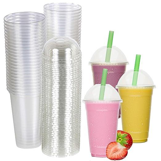 50 vasos de plástico desechables de 20 onzas con tapa de ...