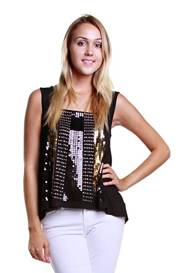 Womens Sparkling Metallic Gold Sequin Beads Sleeveless Tank Top ...