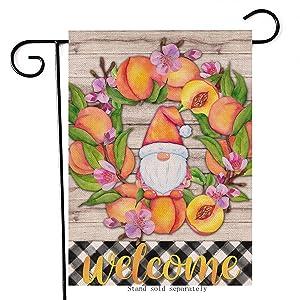 Artofy Welcome Gnome Decorative Garden Flag, House Yard Buffalo Plaid Check Decor Peach Flower Wreath Outdoor Small Burlap Flag Double Sided, Spring Summer Home Outside Farmhouse Decoration 12x18