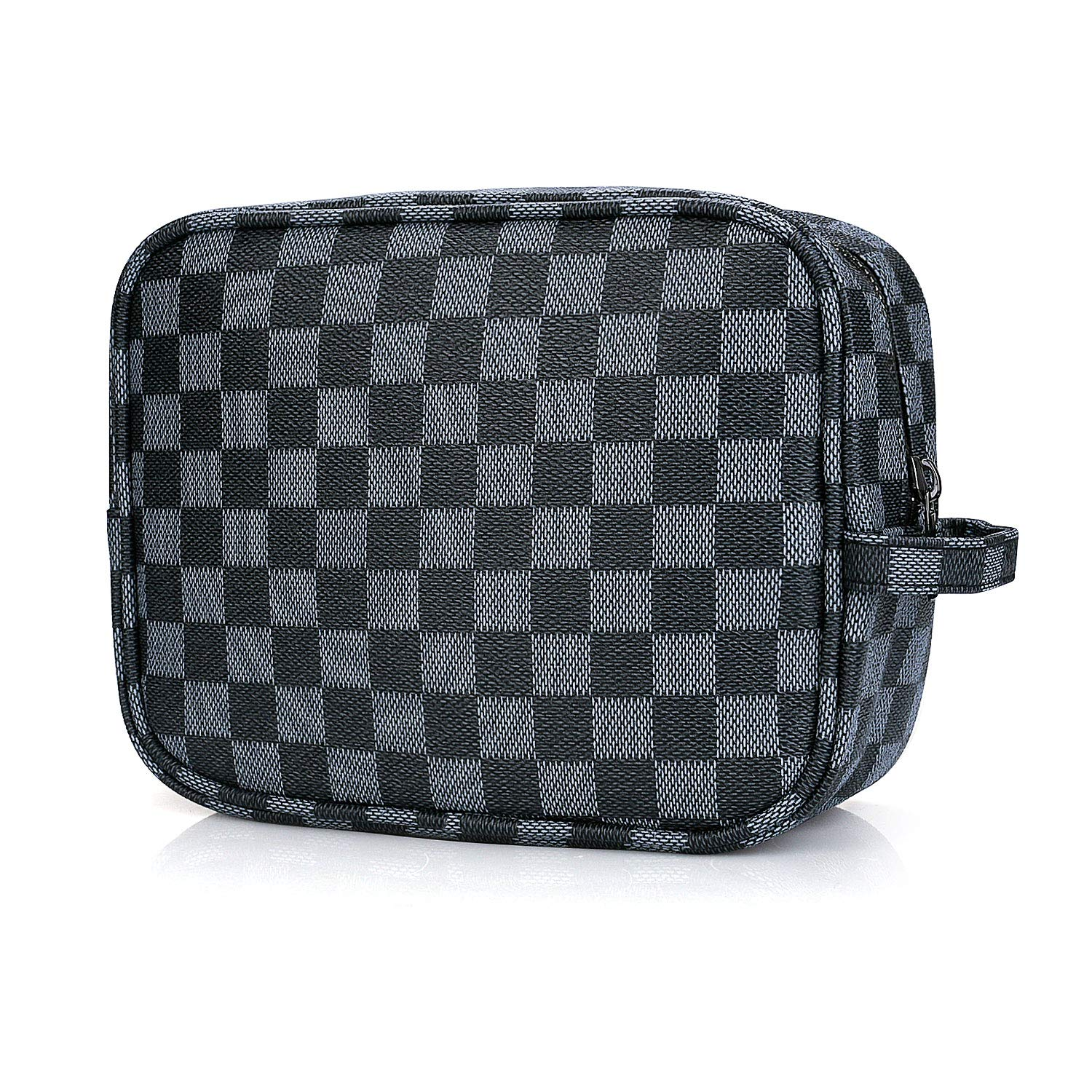 Sholov Cosmetic Bag Luxury Checkered Makeup Bag for Women Multifunctional Portable Leather Travel Organizer Navy Blue