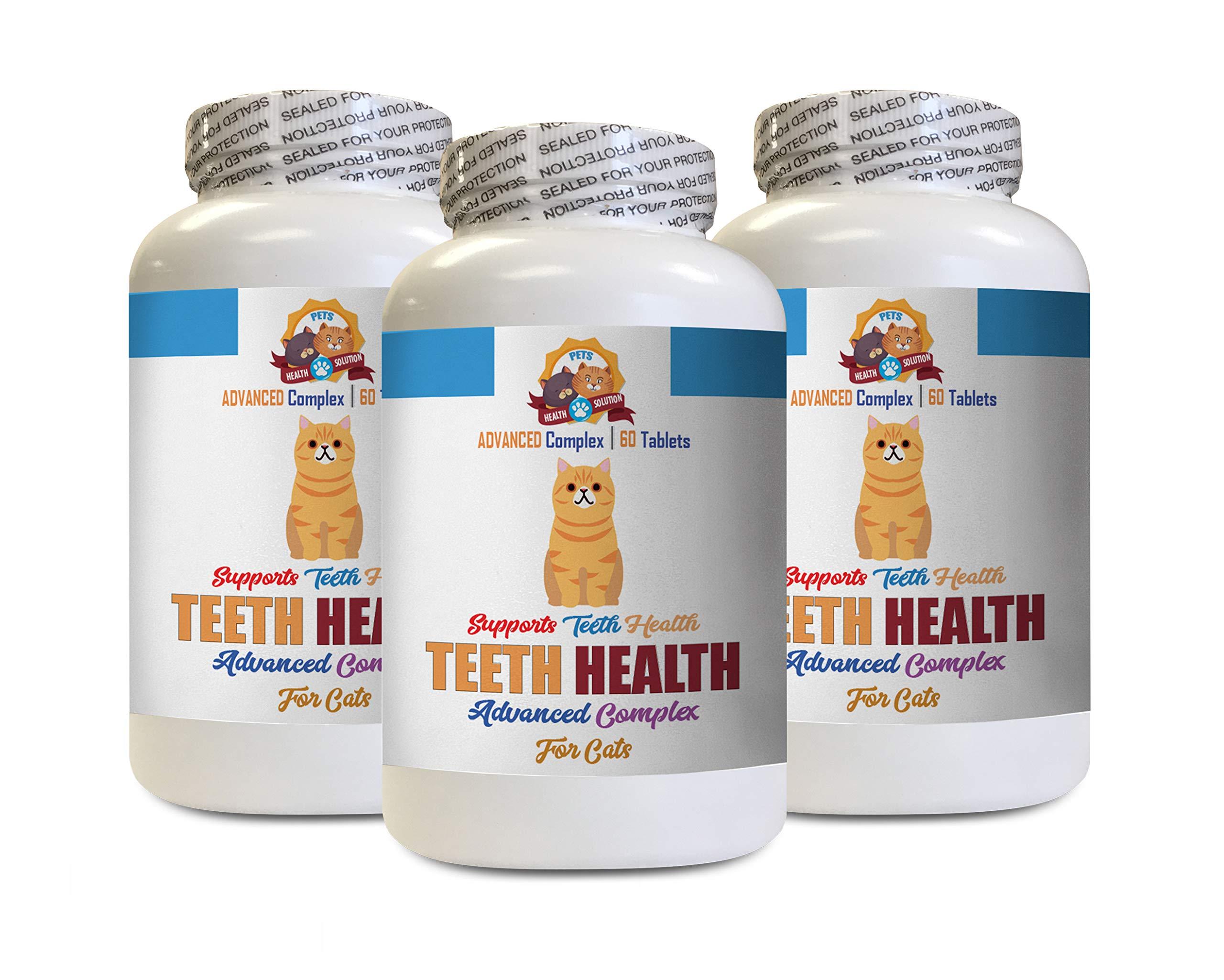 cat Dental Care Solution - Cats Teeth Health Complex - Advanced Gum Mouth Bad Breath Health Formula - Kitty Vitamin - 180 Tablets (3 Bottles)