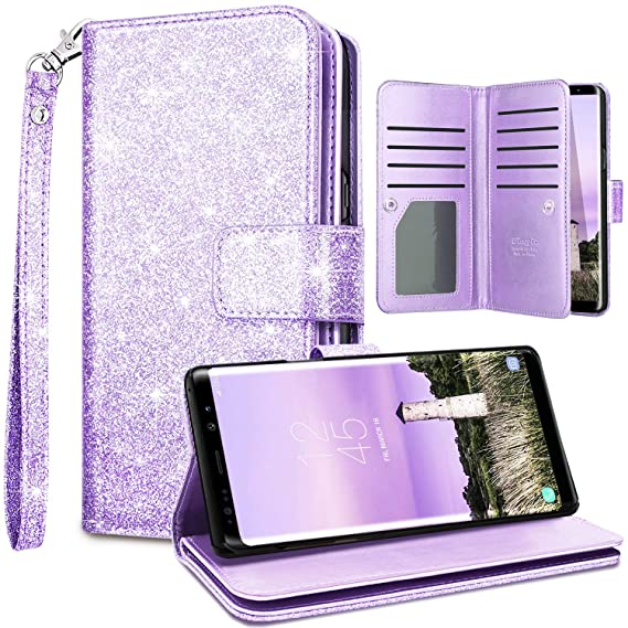 7381f8556c72 Fingic Note 9 Case,Samsung Note 9 Wallet Case,Glitter Wallet Case Nickel  Plated Press Stud[Cash Holder][Wrist Strap][Magnetic Snap  Closure]Protective ...