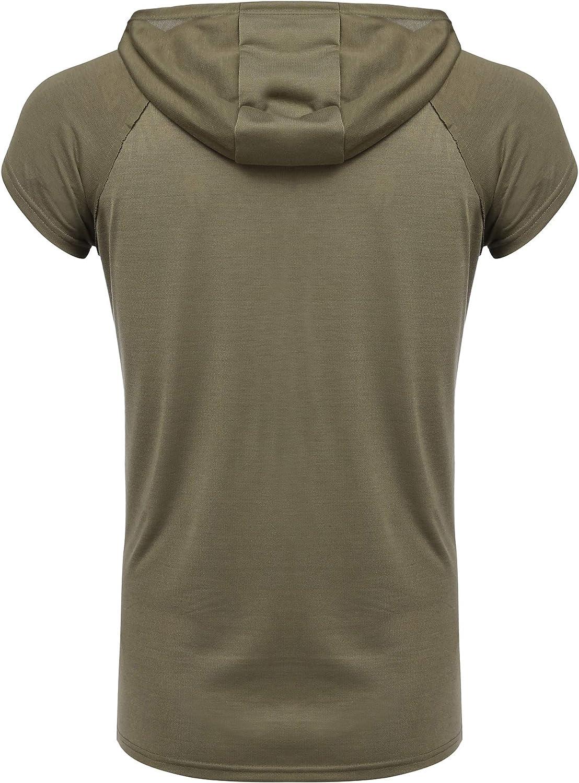 URRU Mens Workout Hoodie Tank Tops Short Sleeve Shirts Gym Fitness Stringers with Kanga Pocket Pockets S-XXL