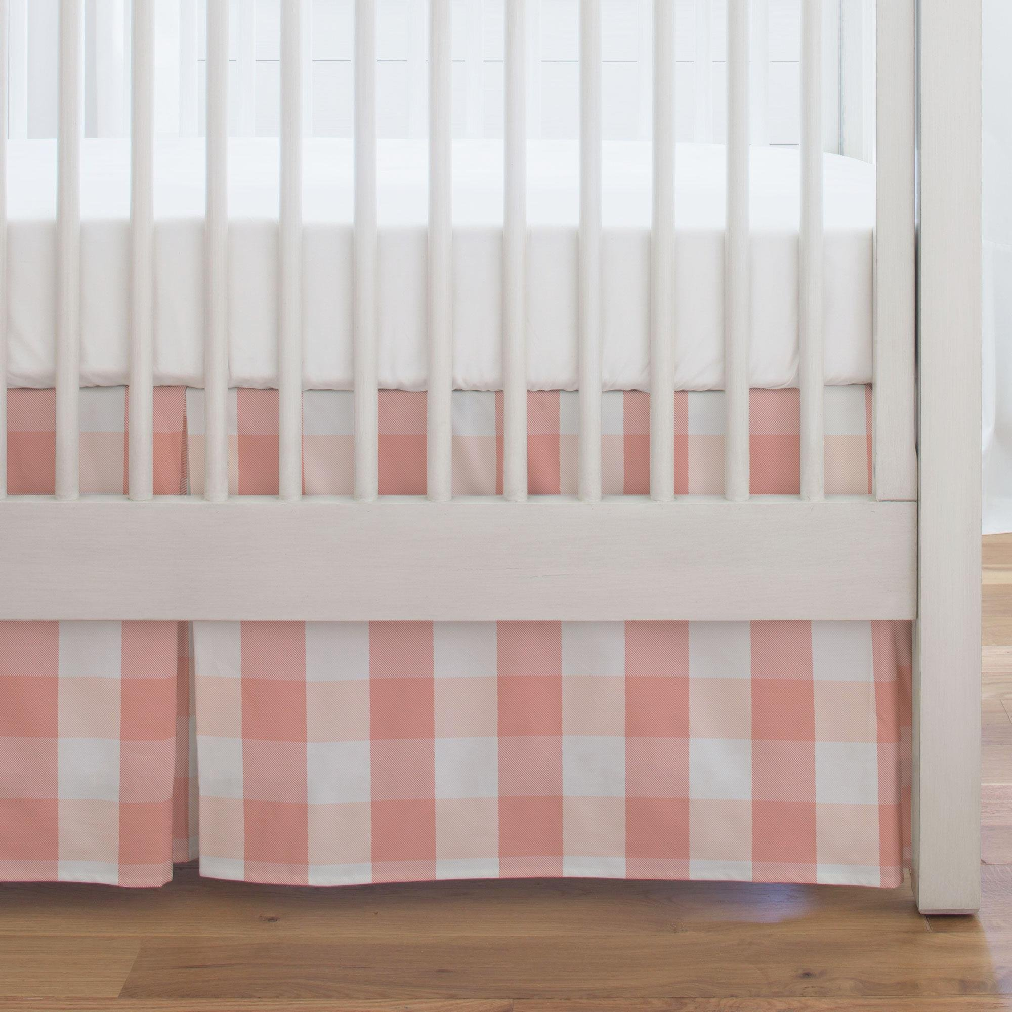 Carousel Designs Light Coral and Peach Buffalo Check Crib Skirt Single-Pleat 17-Inch Length - Organic 100% Cotton Crib Skirt - Made in The USA by Carousel Designs