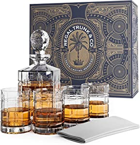 Regal Trunk Whiskey Decanter Set in a Gift Box - Lead Free Crystal Glass Whiskey Decanter and Glass Set - 4 Square Engraved Whiskey Glasses | Bourbon Scotch Liquor Decanter - Glass Polishing Cloth