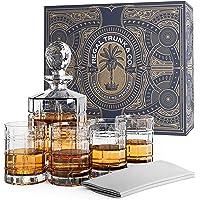 Whiskey Glass Set of 4 with Decanter - Elegant Square Rocks Whiskey Glasses Engraved | Stunning Craftsmanship Lead-free…