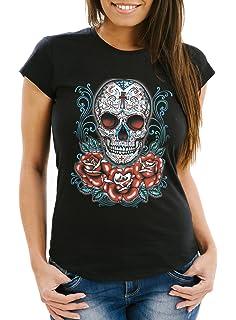 Neon T-Shirt Skull Guns Bild Geschenk Pistole Totenkopf Schädel Halloween