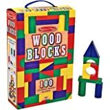 Melissa & Doug 10481 Wooden Building Blocks Set with 100 Blocks in 4 Colours and 9 Shapes