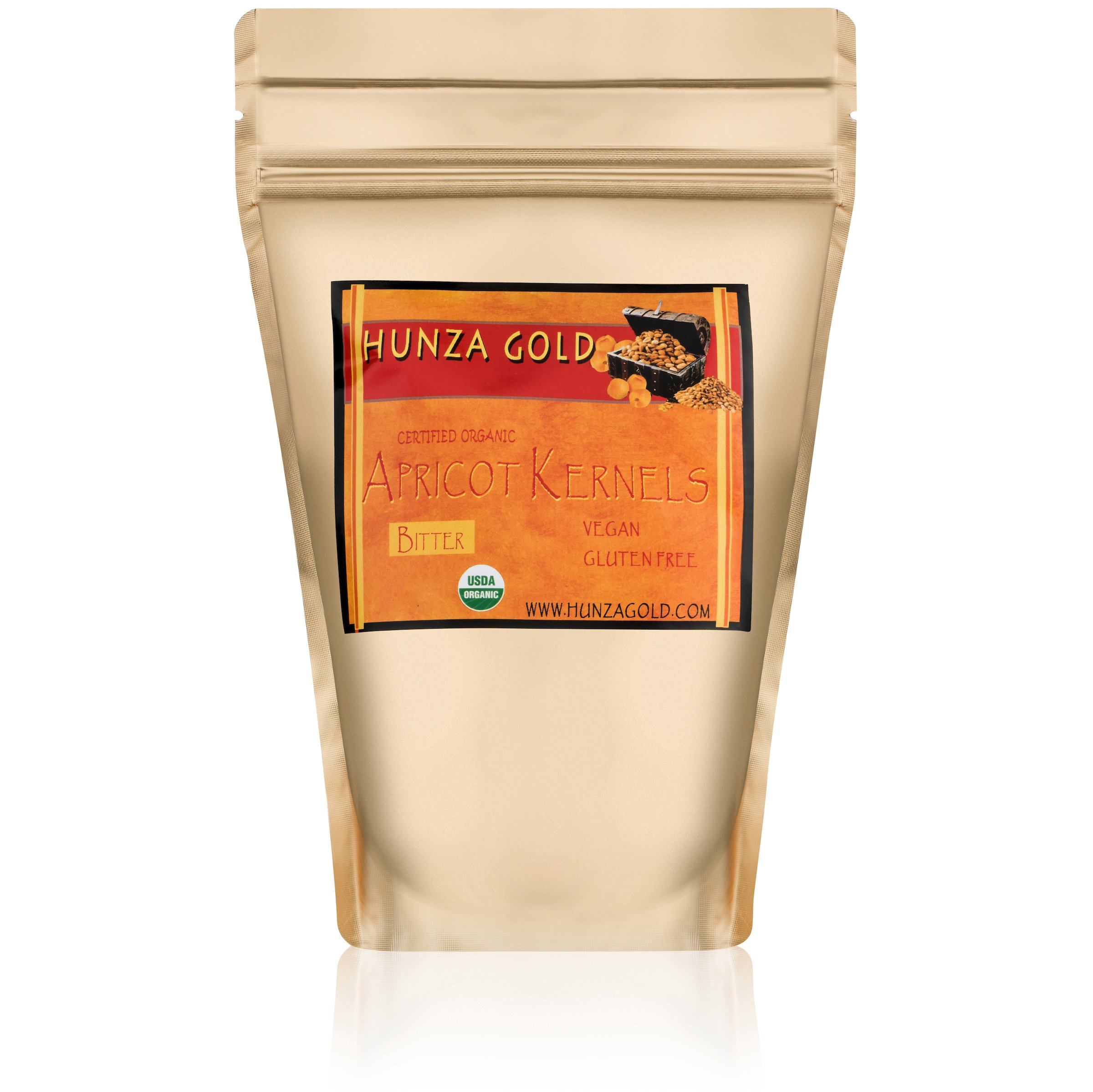 Hunza Gold Bitter Certified Organic Raw Apricot Kernels (2 Pounds / 908 grams)