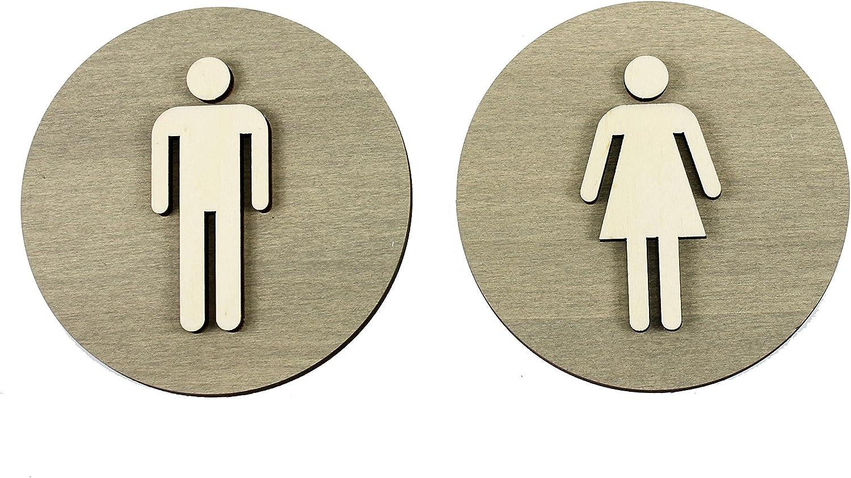 Legno /Ø 12cm colore grigio Targhetta per WC per uomo e donna Damen+herren in legno