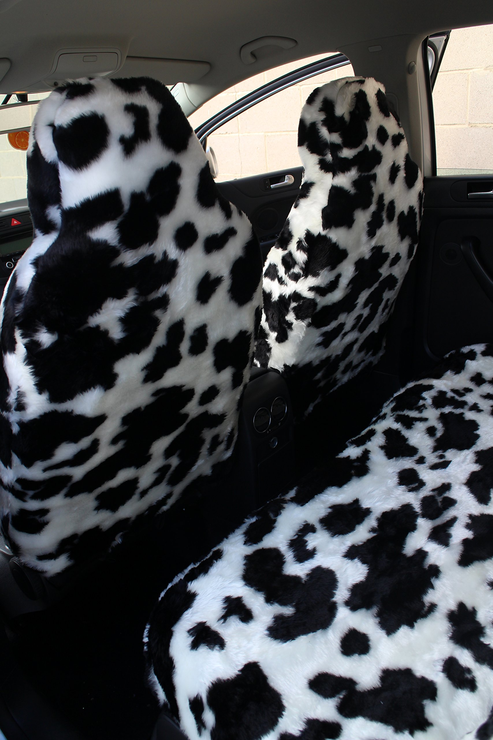 Agroupdream Car Seat Cushion Comfortable Auto Full Seat Cover Summer Winter for Women Men Family Cow Print White and Black