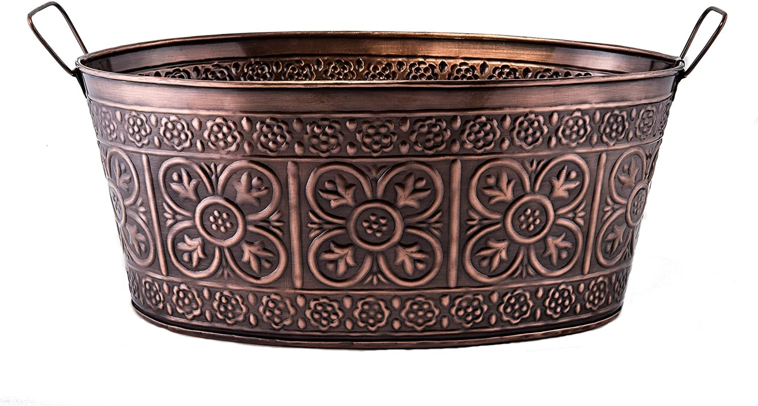 Old Dutch Oval 2.9-Gallon Quatrefoil Party Tub, 17 by 91/2 by 7-Inch, Antique Copper
