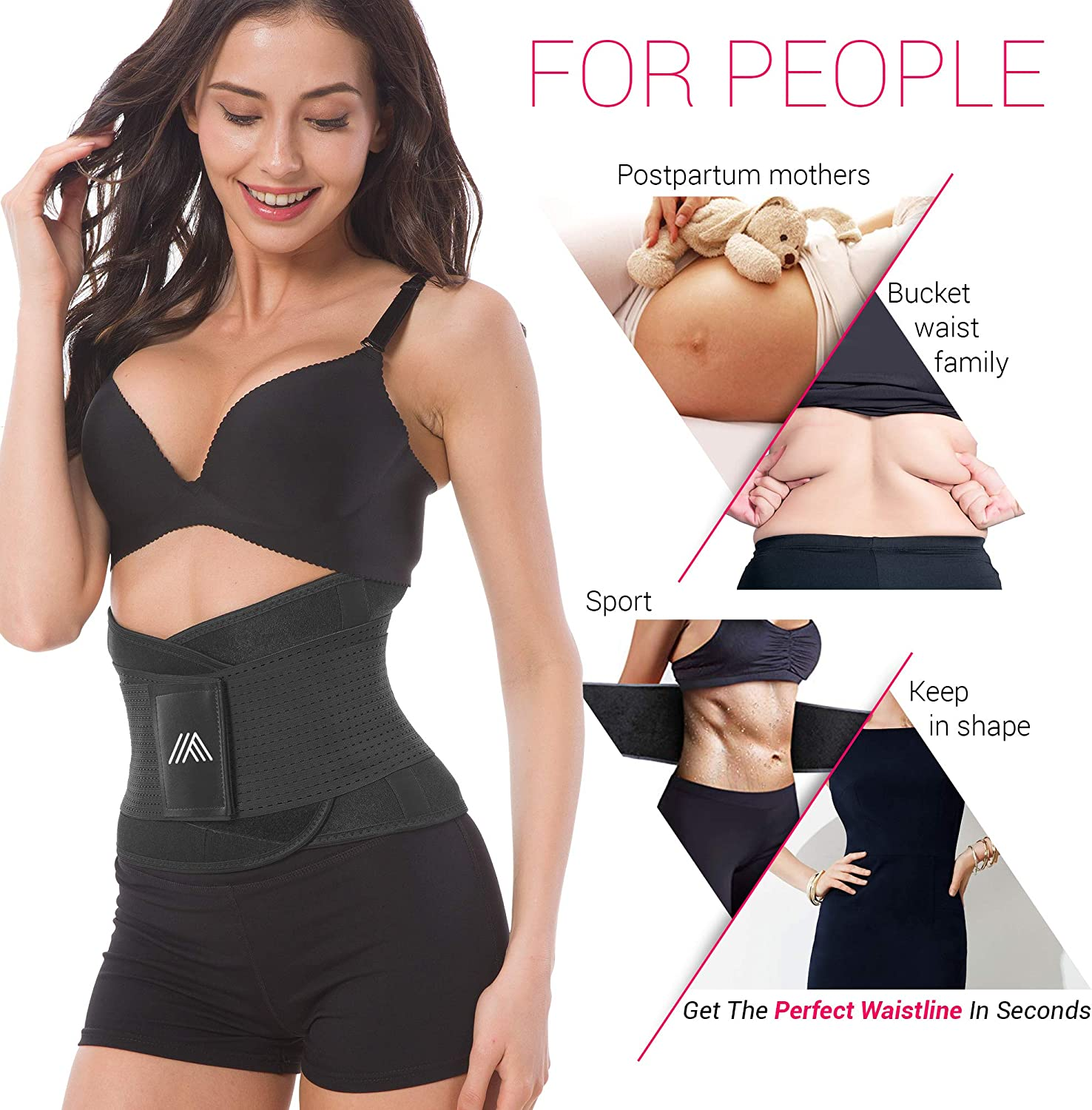 Adjustable Back Support Belt for Women – Abdominal Elastic Waist Ab Cincher Trainer Trimmer – Neoprene Hourglass Slimming Body Shaper Sport Girdle for Weight Loss Sweet Sweat Compression Band Workout