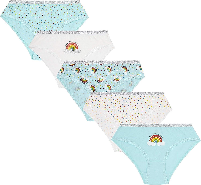 Lora Dora Girls Confezione di 5 Paia Mutandine SET SLIP BAMBINI CONFEZIONE MULTIPLA 100/% Biancheria intima in cotone misura UK 2-13 anni