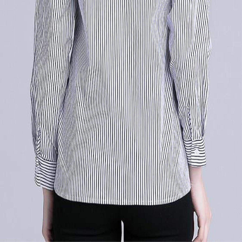 Blusa de Blusa de Rayas Blancas Negras Bordadas con Solapa ...