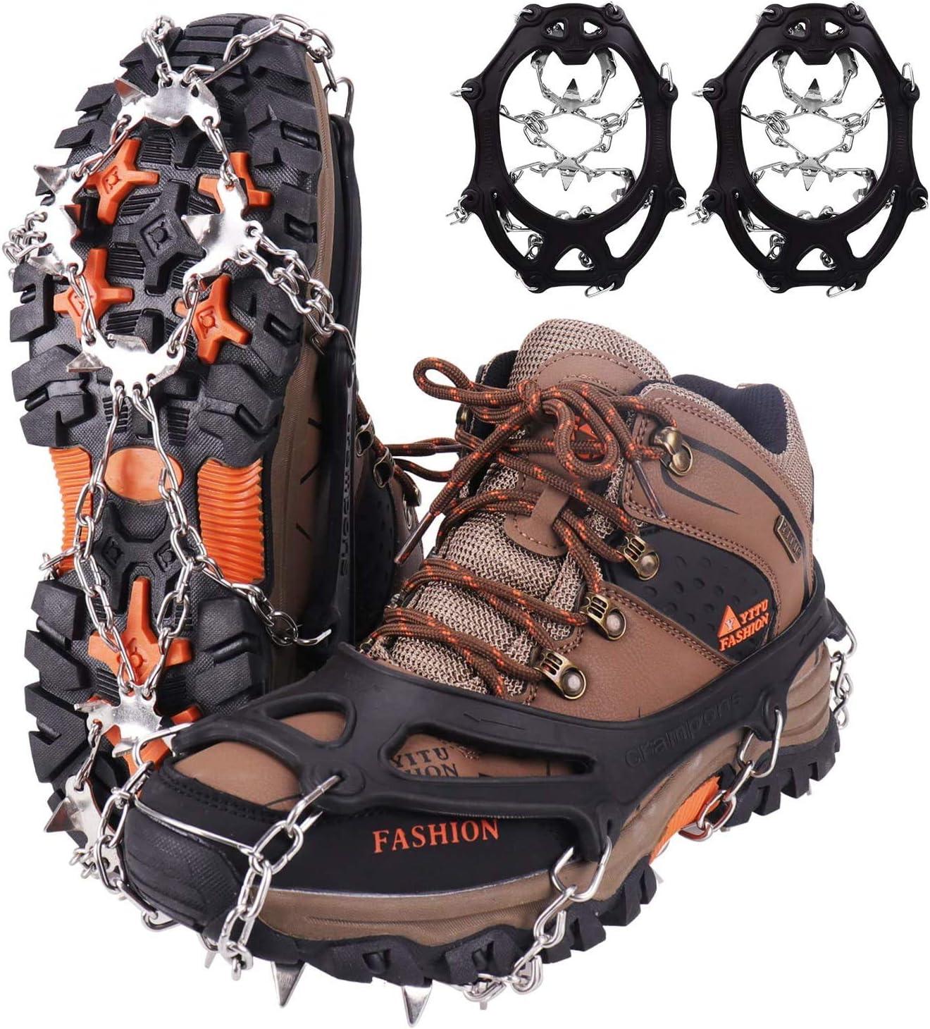 Pinchos para zapatos, crampones de hielo, crampones de hielo, crampones de 19 dientes para escalada, montañismo, trekking, alta altitud, invierno y ...