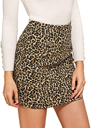 5c1db1c211 Verdusa Women's Leopard Print Denim A-Line Short Pencil Skirt Brown S