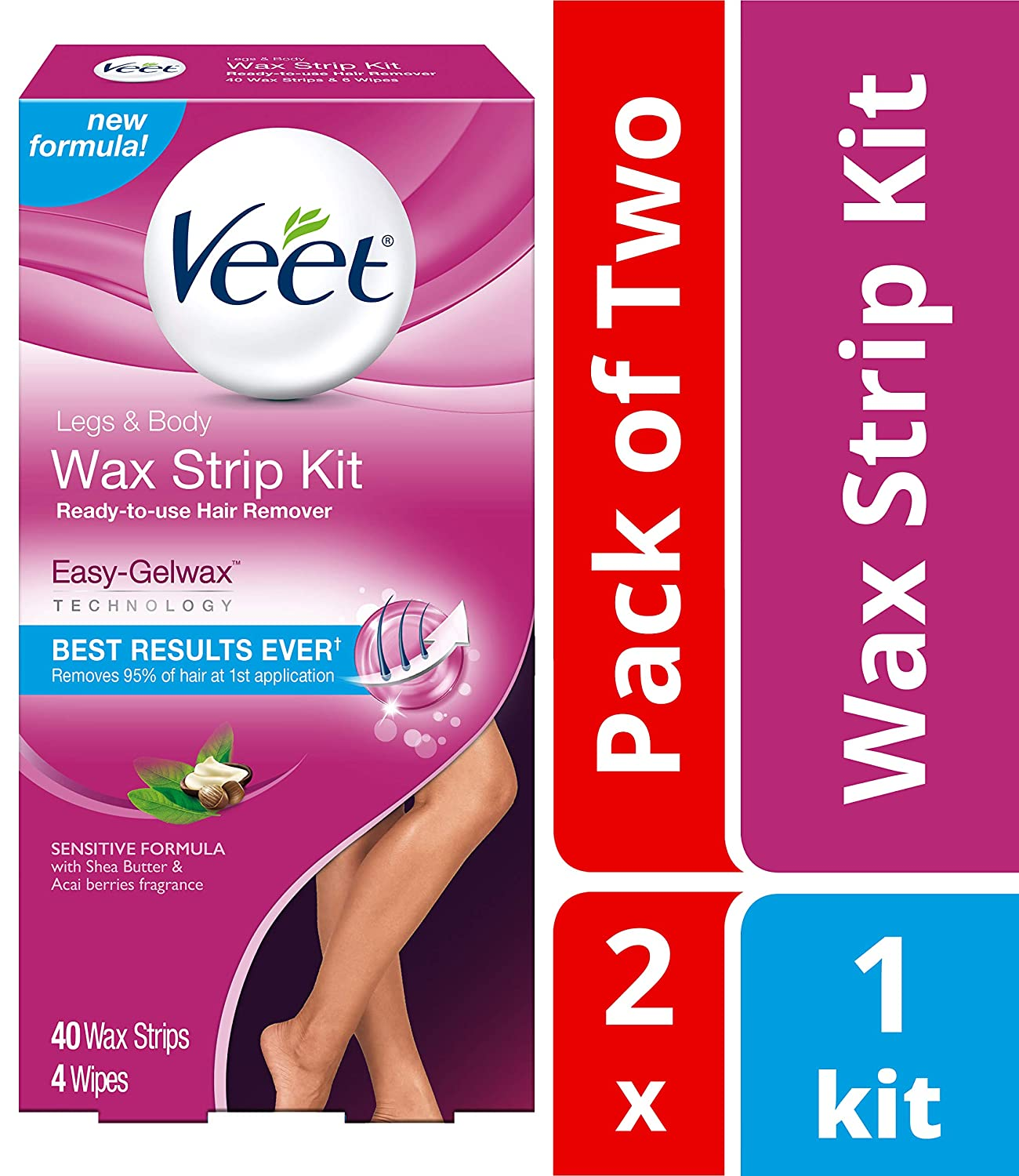 Veet Leg & Body Hair Removal Kit- Sensitive Formula, Ready-to-use Cold Wax Strips, Shea Butter & Acai Fragrance, 40 Count (Pack of 2)