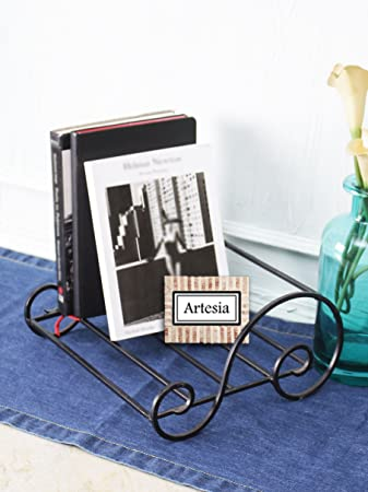Artesia Iron Table Top Magazine Book Case Holder for Home | Book Storage