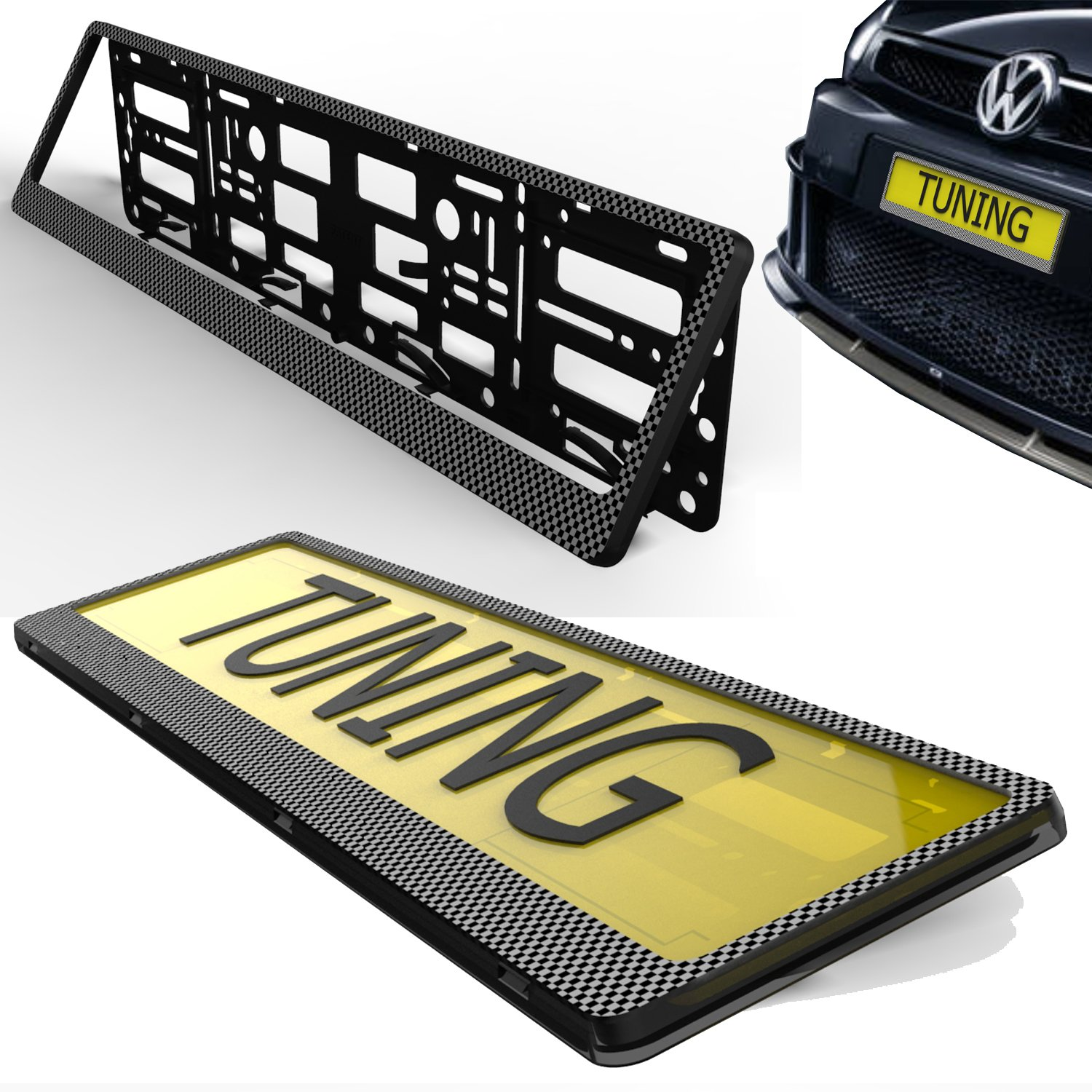 Car Registration Surrounds Front /& Rear Frames 2 x Number Plate Holders Glossy Chrome Finish