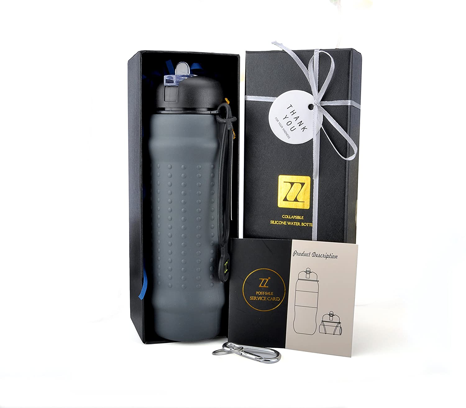 ZZ W700-G Collapsible Silicone Water Bottle, Sport Water Bottle, Outdoor Water Bottle, Portable Light Weight, Medical Food Grade, BPA Free, FDA Approved, Anti-Slip, 24 OZ. Grey