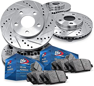 Deluxe Advanced Ceramic Pads Full Kit PBR AXXIS Silver Drill//Slot Brake Rotors