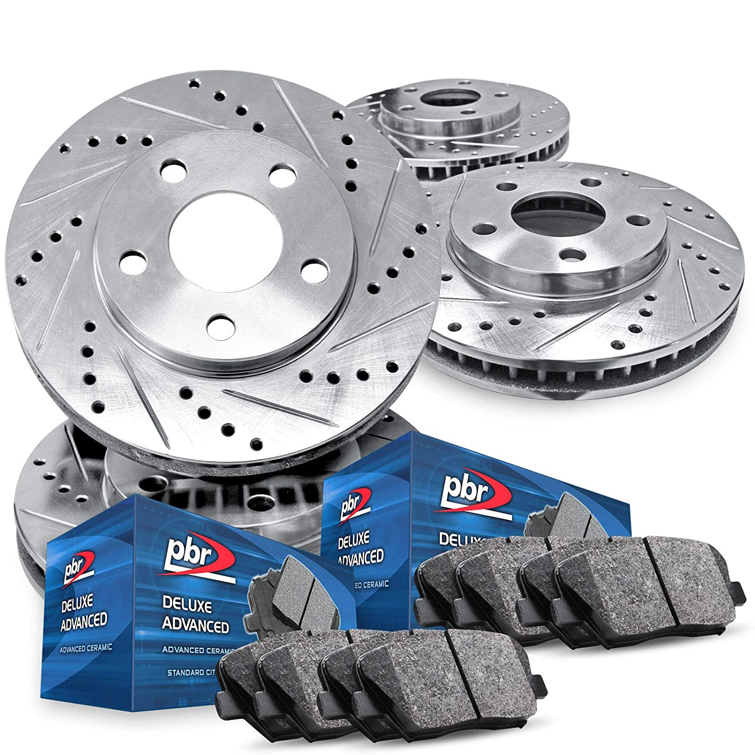 Fit 2005-2010 Ford Mustang Front Black Drill Slot Brake Rotors+Ceramic Brake Pad